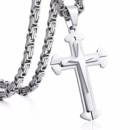 Hermah Stainless Steel Cross Pendant Necklace Mens Boys Chain 5mm Byzantine Chain 22-30inch (Cross Ball Chain)