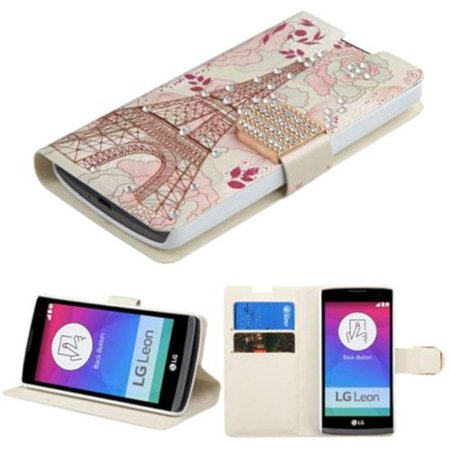 Insten Eiffel Tower Book-Style Leather Wallet Fabric Cover Case w/stand/card slot/Diamond For LG Leon/Tribute 2 - -