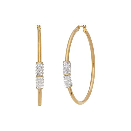 Brilliance Fine Jewelry 10K Yellow Gold Hoop Earrings with Swarovski Crystal Elements