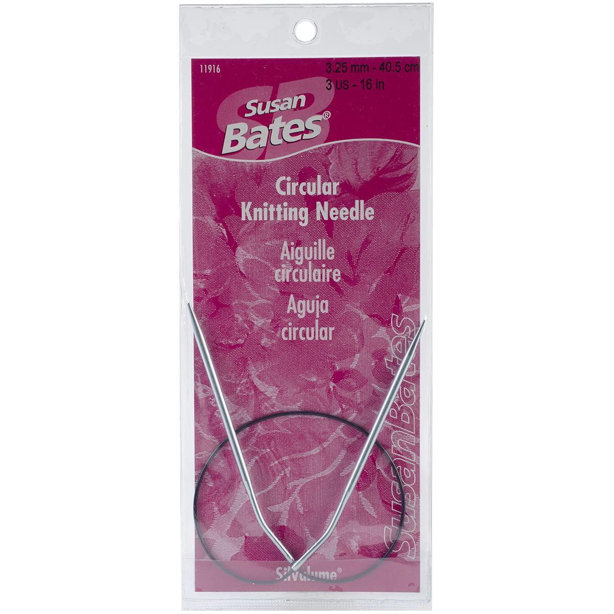 "Susan Bates Silvalume Circular Knitting Needles 16""-Size 3/3.25mm"