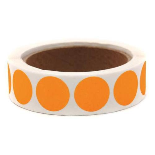"GRAINGER APPROVED Blank Dot Label Orange 1""W, Pk1000, 3VCN7"