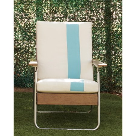 Novogratz Poolside Gossip Collection, Lila Outdoor Lounge Chair, Light Tan With Turquoise Stripe Collection Chaise Lounge