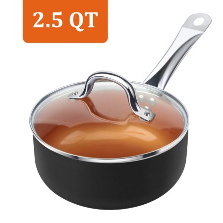 SHINEURI Copper 2.5-Quart Nonstick Sauce Pan with Stainless Steel Handle & Glass Lid, Copper Covered Saucepan for Induction, Gas, Electric and Stovetops(Black) Chefs Copper Sauce Pan