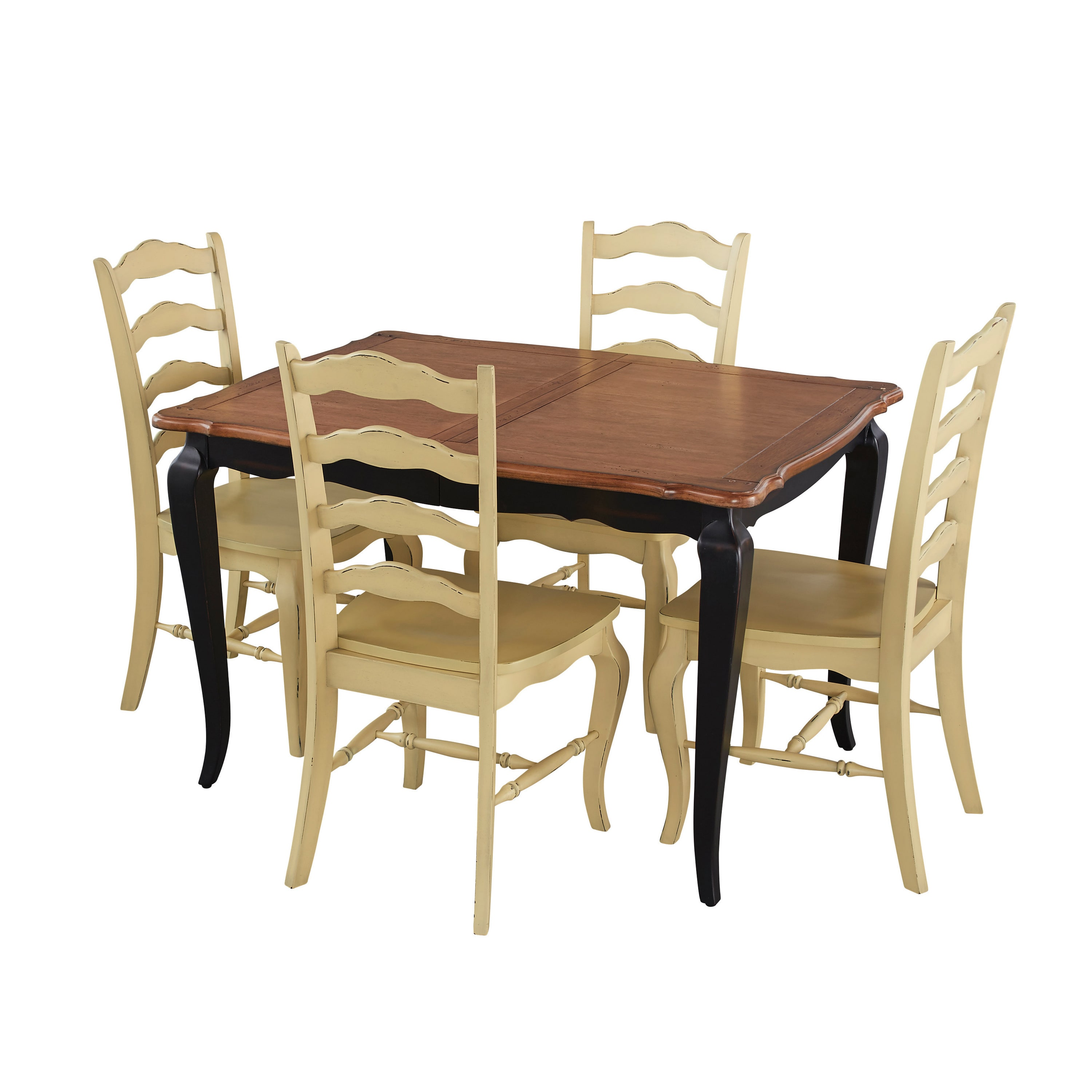 Home Styles French Countryside black and oak 5-piece Dining Set w/ blue chairs