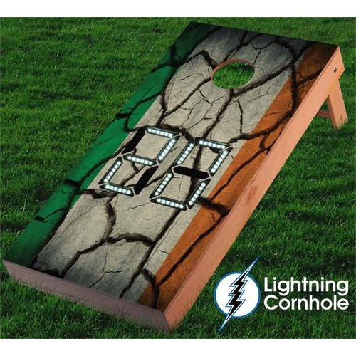Lightning Cornhole Electronic Scoring Irish Flag Textured Cornhole Board