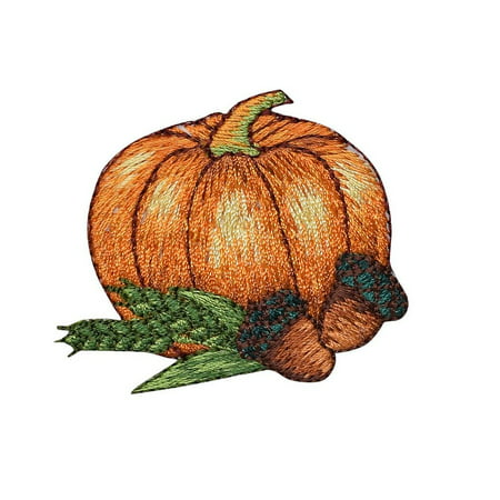 Pumpkin with Acorns - Thanksgiving - Fall - Iron on Applique/ Embroidered Patch ()