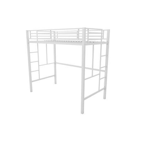 YourZone Metal Twin Loft Bed with Mattress, Multiple Colors