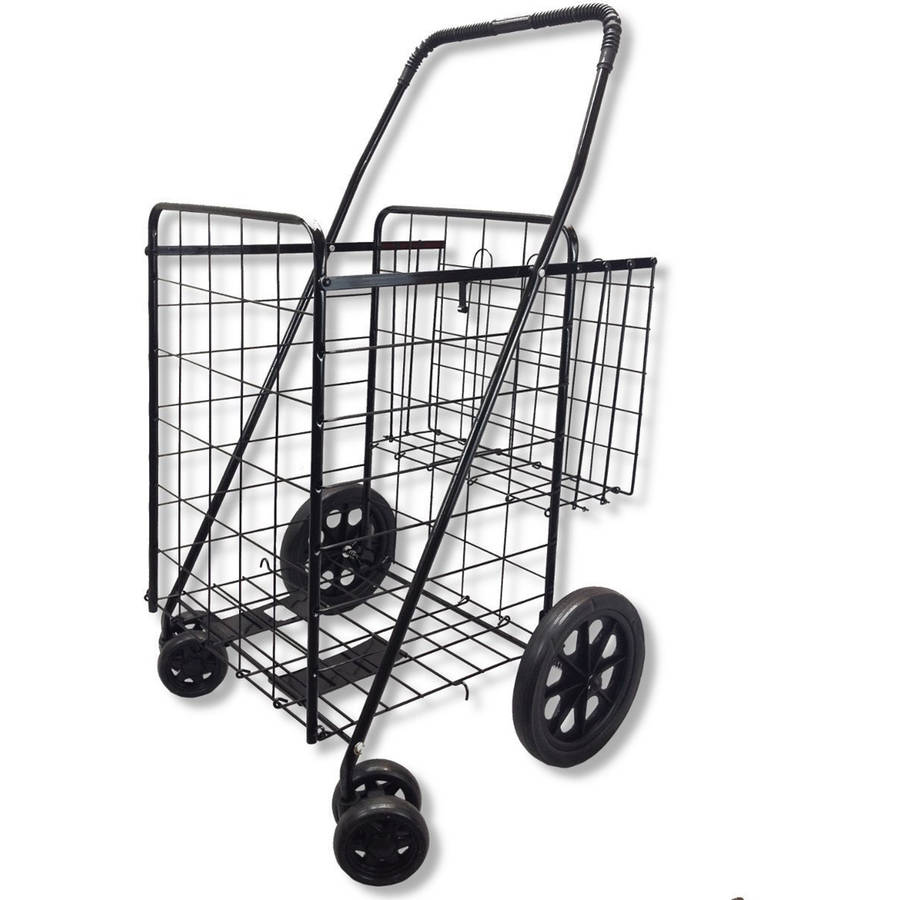 Double Basket Black Folding Utility Cart Fold Up Rolling Storage Shopping Carrier