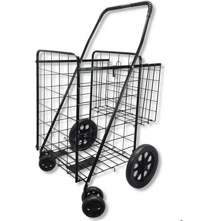 Whitmor Rolling Utility Cart - Double Basket Black Folding Utility Cart Fold Up Rolling Storage Shopping Carrier