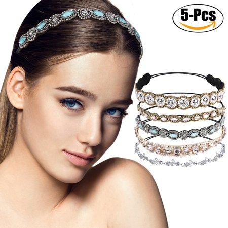 Justdolife 5PCS Rhinestone Headband Fashionable Handmade Crystal Hair Band Wedding Bridal Bohemian Gatsby Headband Headwrap for Women Girls - Gatsby Attire For Women