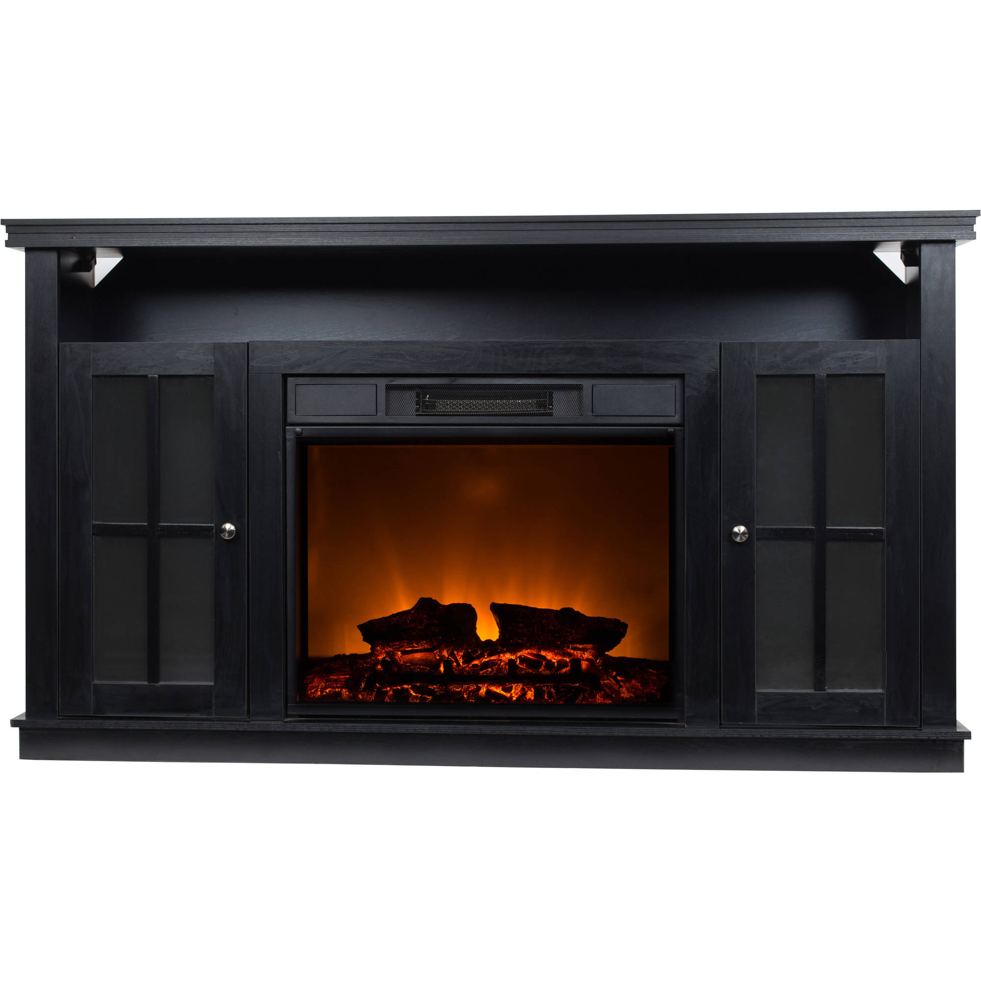 "Décor Flame Monarch 56"" Media Fireplace, for TVs up to 65"", Black"