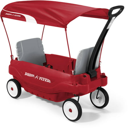 Radio Flyer, Deluxe Family Wagon with Canopy, Folding Seats, Red Wagon Plastic Model