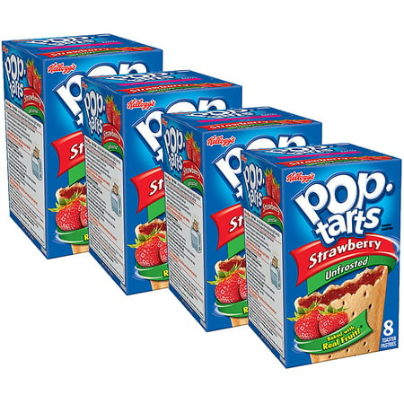 (4 Pack) Kellogg's Pop-Tarts Breakfast Toaster Pastries, Unfrosted Strawberry Flavored, 14.7 oz 8