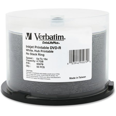 Verbatim DVD-R (4.7 GB) (16x) DataLifePlus, Inkjet & Hub Printable, White (50 Ea/Pkg) 500 Gb Dvr System