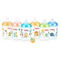 Nuby 9 oz Natural Touch SoftFlex Natural Nurser Bottles 6 Pack, Colors May Vary