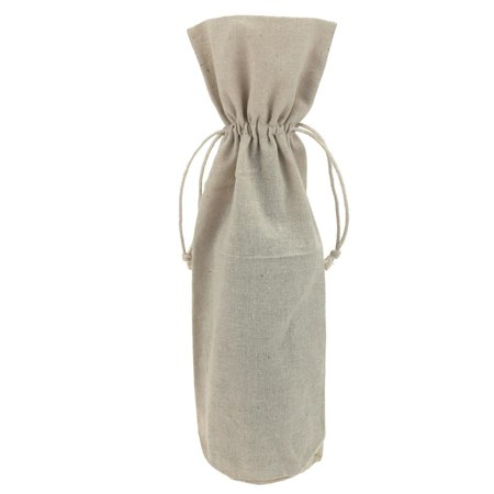 Drawstring Wine - Linen Wine Bag with Drawstrings, Natural, 15-Inch