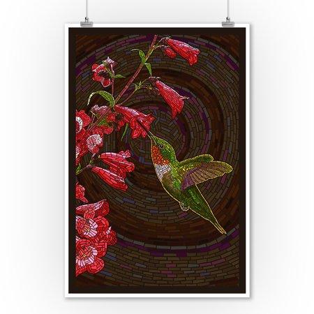 Hummingbird - Paper Mosaic - Lantern Press Poster (9x12 Art Print, Wall Decor Travel Poster) ()