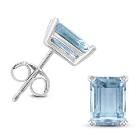 14K White Gold 5x3MM Emerald Shaped Aquamarine Earrings Shaped Aquamarine Earrings