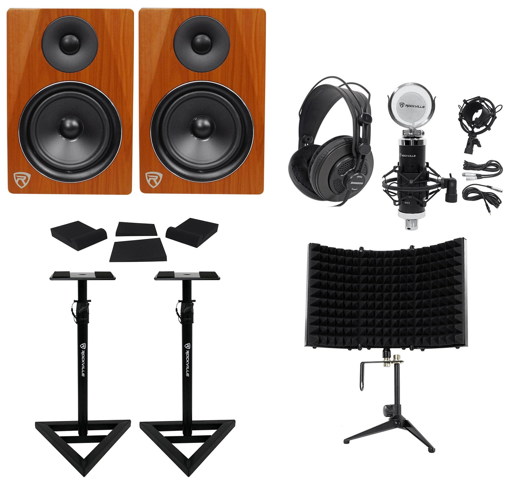 "2) Rockville DPM6C 6.5"" 420w Active Studio Monitors+Stands+Headphones+Mic+Shield by ROCKVILLE"