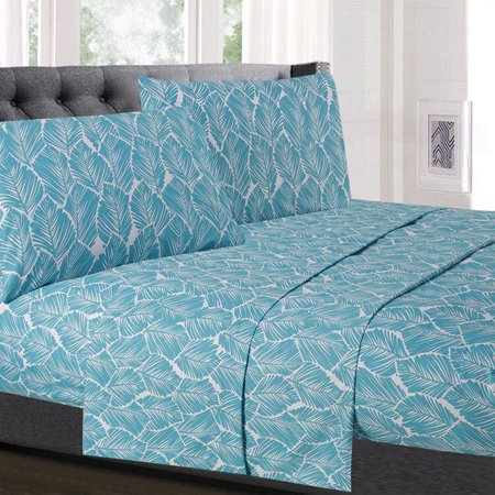 Tropical Leaf Pattern Teal 4-Piece 1500 Supreme Collection Sheet Set ()