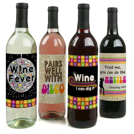Disco Decorations (70's Disco - 1970's Disco Fever Wine Bottle Label Stickers - Set of 4 )