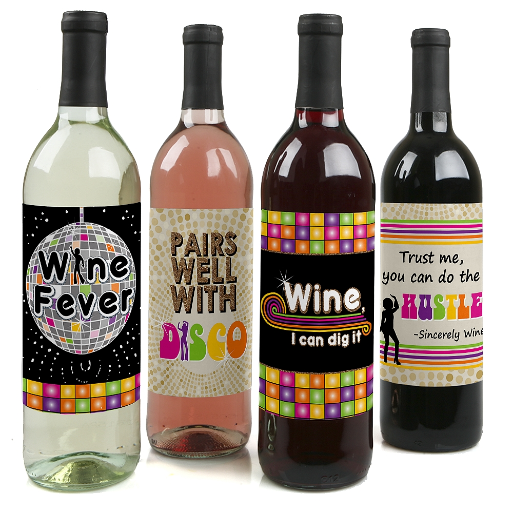 70's Disco - 1970's Disco Fever Wine Bottle Label Stickers - Set of 4