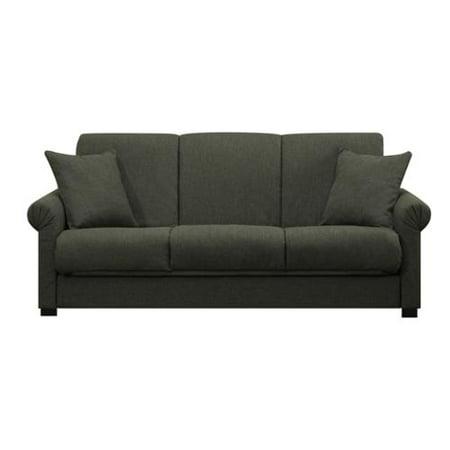 PORTFOLIO  Rio Convert-a-Couch Basil Green Linen Futon Sofa Sleeper