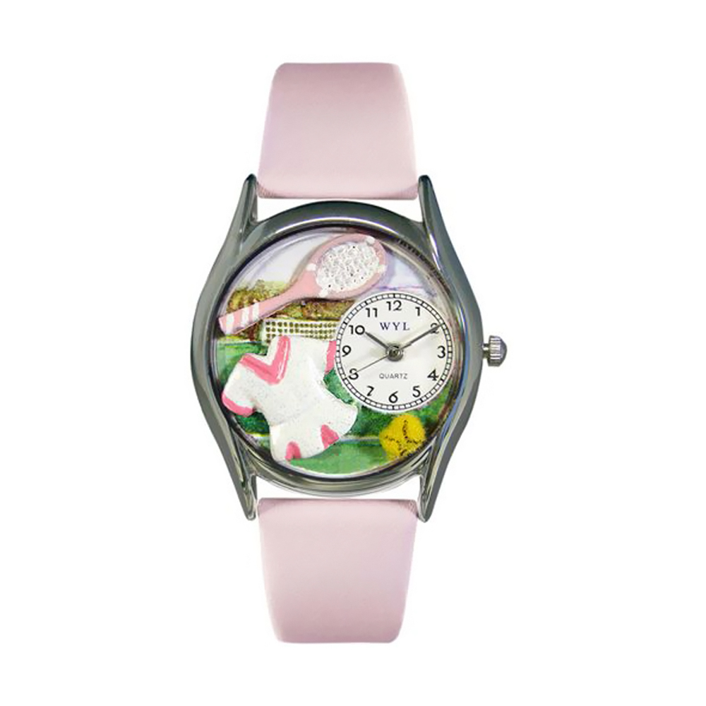 Whimsical Tennis Female Pink Leather And Silvertone Watch