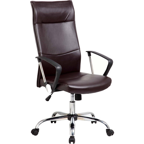 Techni High Back Executive Leather Office Chair with Arms and Chrome Base, Black