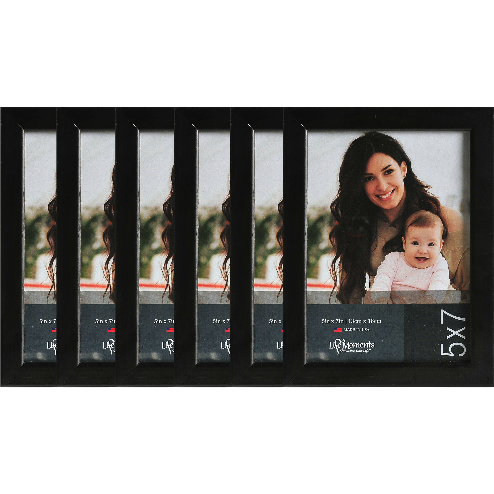5x7 Black Wood Desk Picture Frames, Case of 6 by Pinnacle Frames and Accents