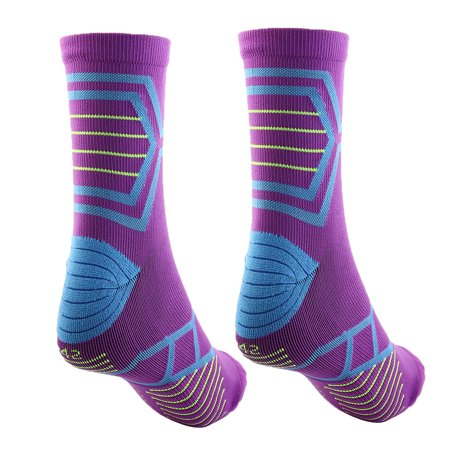 Men Women Exercise Running Cycling Hiking Sports Casual Socks Purple Pair - image 4 of 5