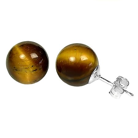 Tigers Eye 10mm Ball Stud Earrings 14K White Gold Posts