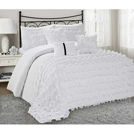 7 Piece Alustra Solid Color Ruffled Clearance Bedding
