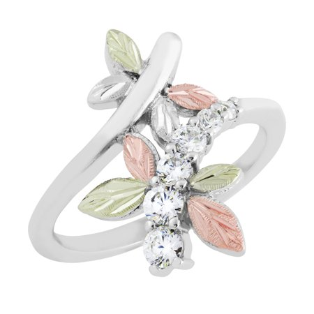 Ladies Black Hills Dragonfly Ring with White