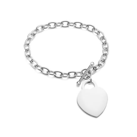 Stainless Steel Polished Large Heart Charm - Heart Charms