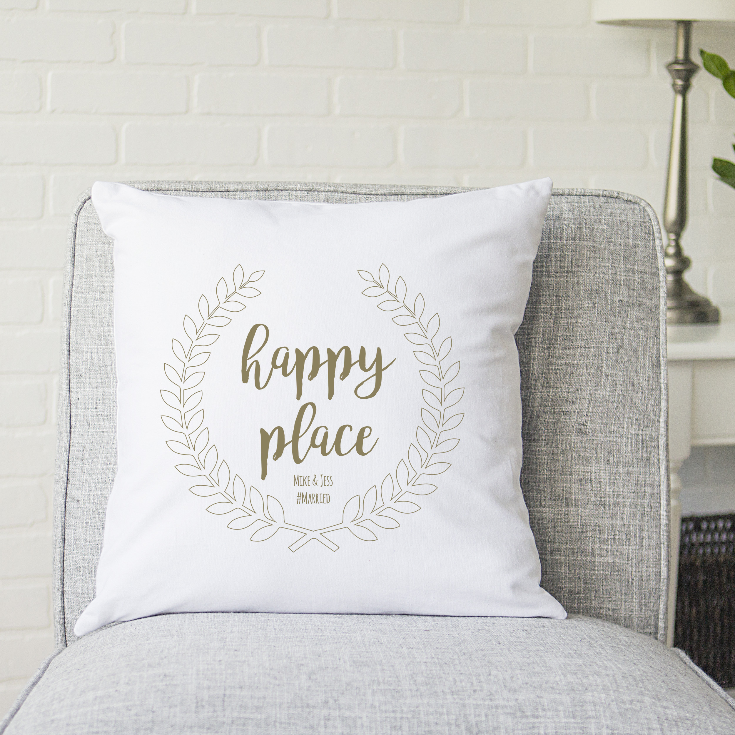 "Personalized Happy Place 16"" Square Throw Pillow"