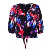 NY Collection Women's Floral Print Tie-Front Jersey Top