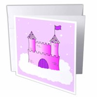 3dRose Pink and Purple Princess Castle in the Clouds, Greeting Cards, 6 x 6 inches, set of 6