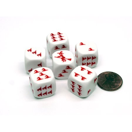 Pack of 6 Witch Halloween Themed 16mm Dice - White with Red Etches](Halloween 6 Theme)