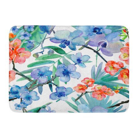 GODPOK Painting Colorful Oriental Tropical Flowers for High Summer Pattern Green Orchid Leaf Rug Doormat Bath Mat 23.6x15.7 inch