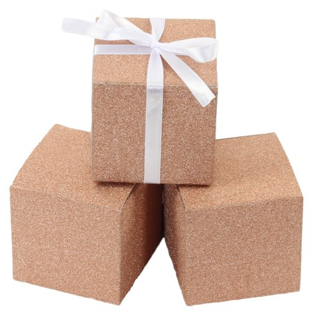 Koyal Wholesale Real Glitter Gift Favor Boxes Rose Gold, Bulk 50-Pack Count, Party Favor Gift Box - Wholesale Boxes