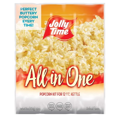 JOLLY TIME All in One Kit for 12 oz. Popcorn Machine | Portion Packet with Kernels, Oil and Salt Commercial, Movie Theater or Air Popper (Net Wt. 16 oz. Each,