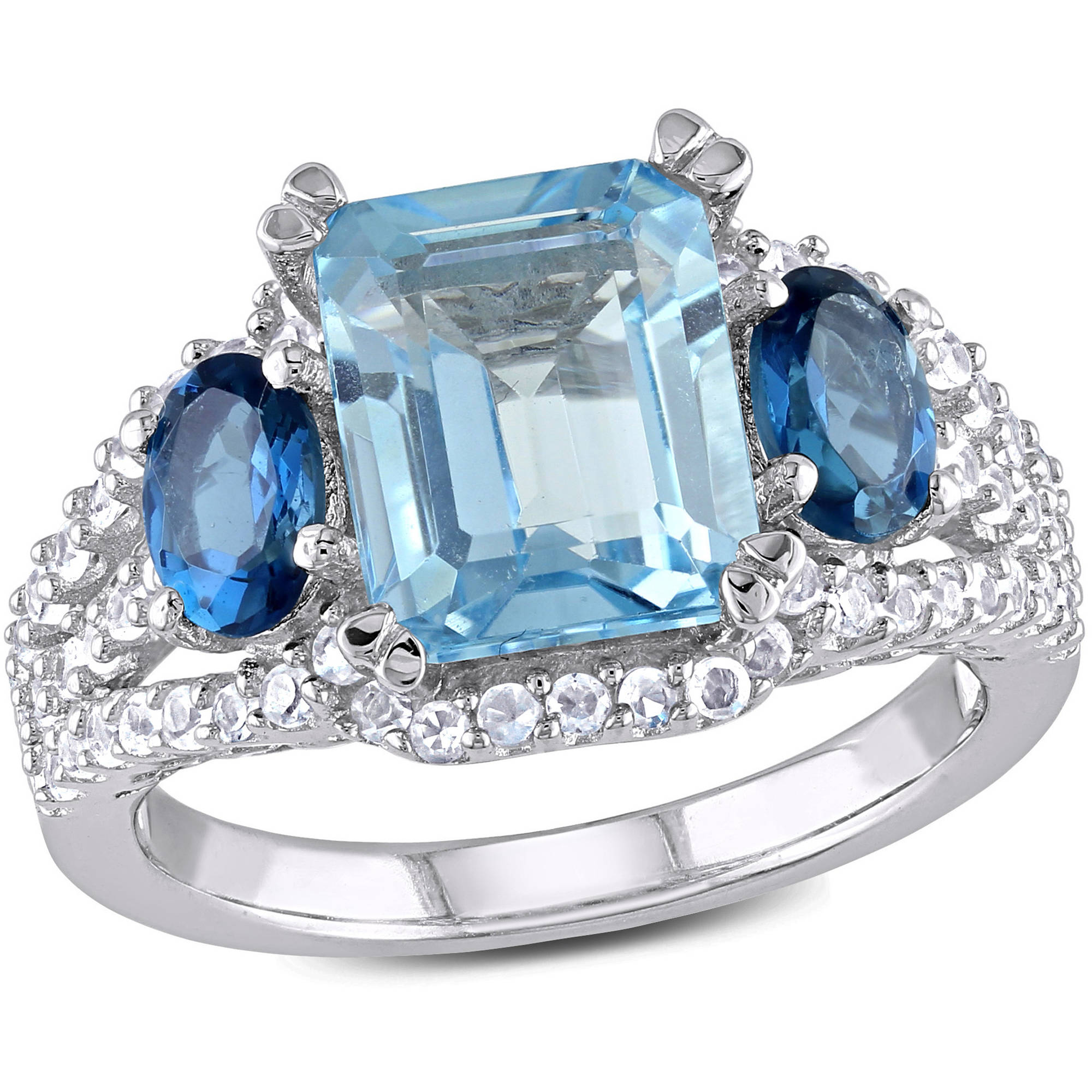 Tangelo 5-3 4 Carat T.G.W. Sky and London Blue Topaz with Created White Sapphire Sterling Silver Three-Stone Ring by Tangelo