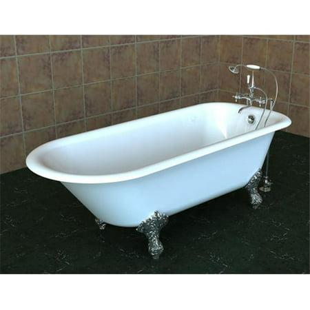 SONG FP-603025-70-CIP White Cast Iron Pedestal Bathtub No Faucet Drillings