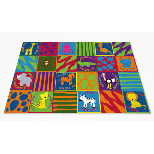 Kid Carpet Bilingual Animals School Area Rug