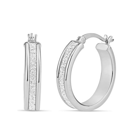 Sterling Silver Rhodium-Plated 20mm x 5mm Glitter Hoop