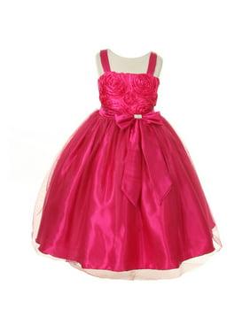 Little Girls Fuchsia Ribbon Roses Embroidered Taffeta Flower Girl Dress 2-6