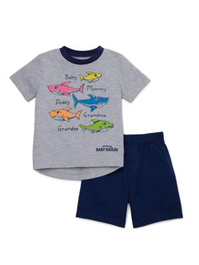 Baby Shark Toddler Boy Ringer T-shirt & Twill Shorts, 2pc Outfit Set