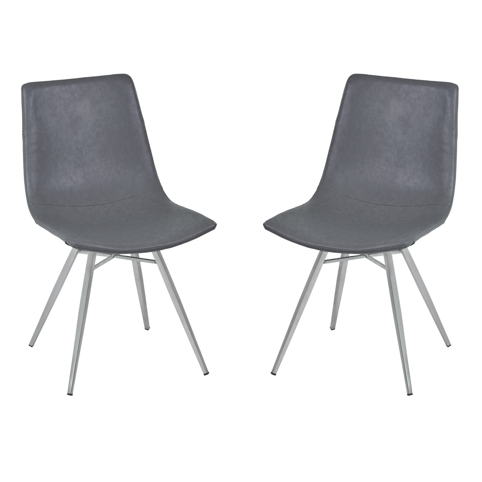 Armen Living Athens Dining Chair in Vintage Gray Pu and Brushed Stainless Steel (Set of 2) by Armen Living