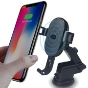 Contixo W1 Fast Wireless Charger Car Mount Holder | 10W Qi-Compatible Charging for Cell Phones Such as Apple iPhone 8/8 Plus/X/XS/XS Max/XR Samsung Galaxy S9/S9 Plus/S8/S8 Plus/S7/Note 8